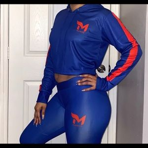 Majesty crop top hoodie and low waist leggings